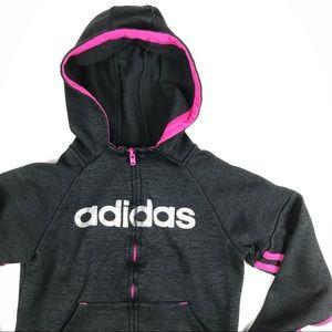 Adidas Girls Youth Hoodie Full Zip Sweater Size 6